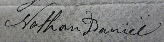Nathan Daniel signature from Walker Daniel's                   probate 1828