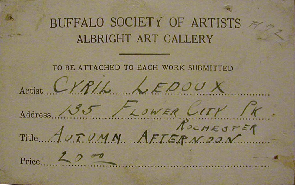 Ledoux                   Buffalo Society of Artists exhibition label