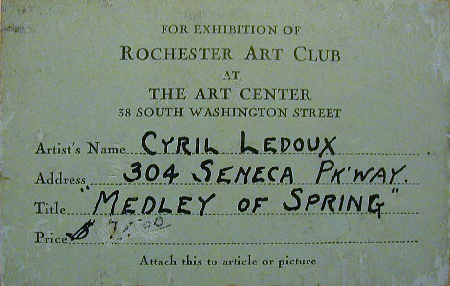 Cyril Ledoux, Rochester                   Art Club exhibition label